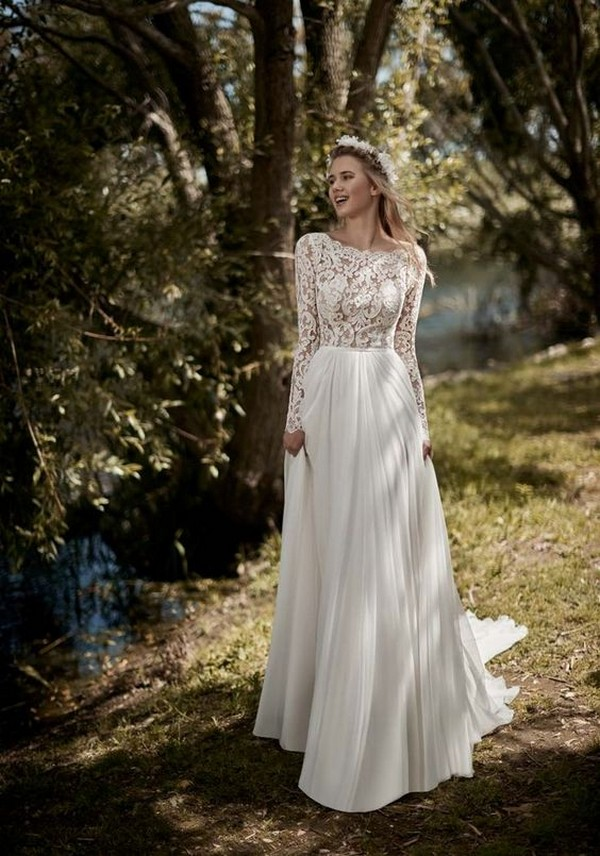 a line wedding dress with long lace sleeves