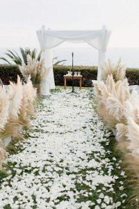 beach wedding ceremony ideas with pampas grass