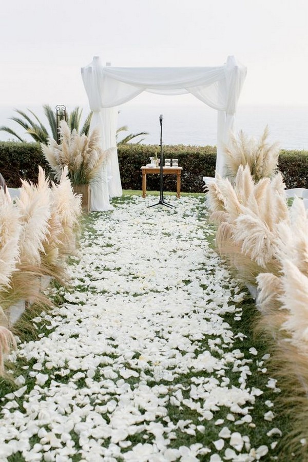 beach wedding ceremony ideas with pampas grass