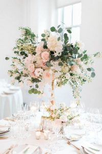 blush pink tall wedding centerpiece