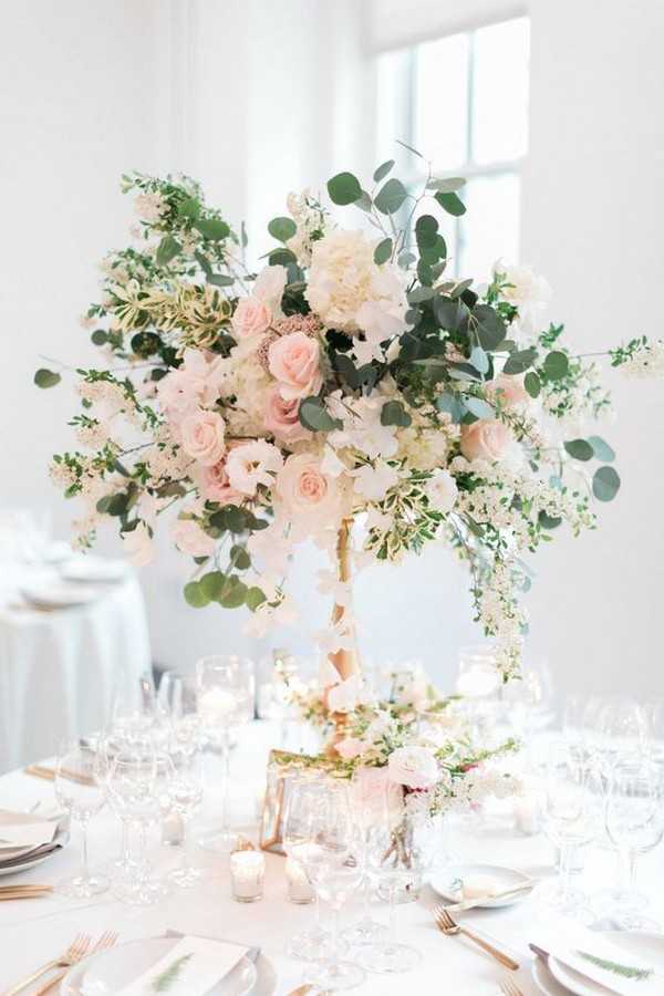 blush pink tall wedding centerpiece
