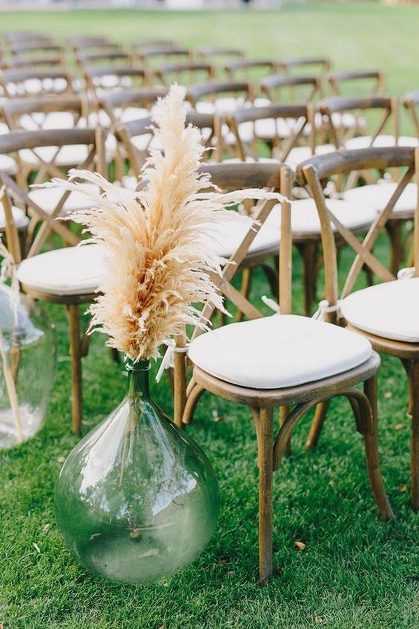 bohemian pampas grass outdoor wedding aisle ideas