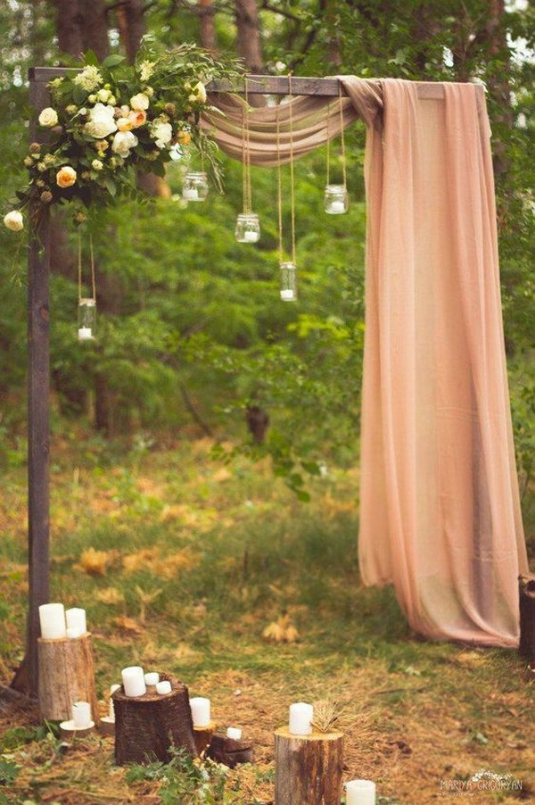 boho chic outdoor wedding arch ideas