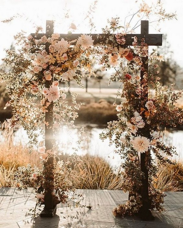 boho fall floral wedding arch ideas