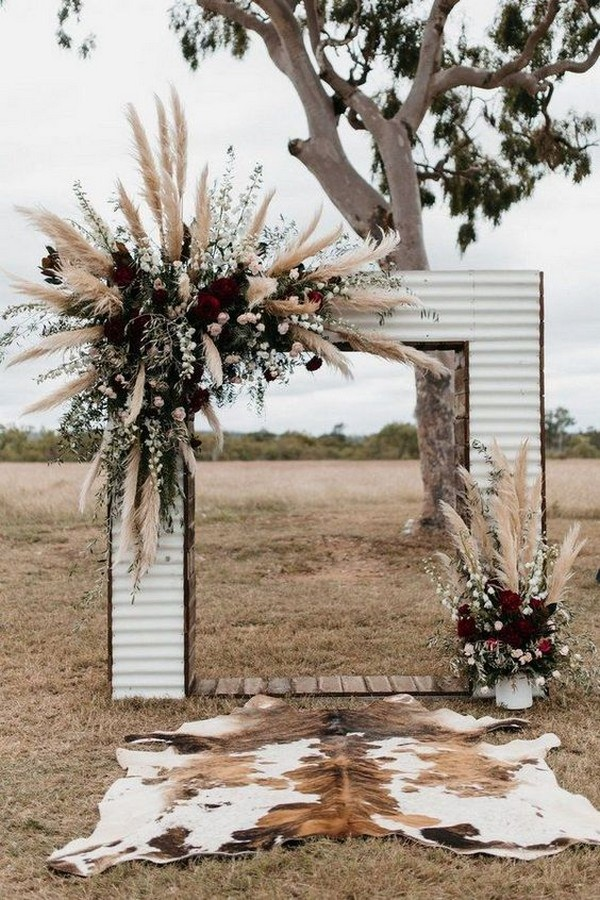 boho pampas grass fall wedding arch ideas