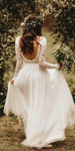 boho wedding dress with long lace sleeves