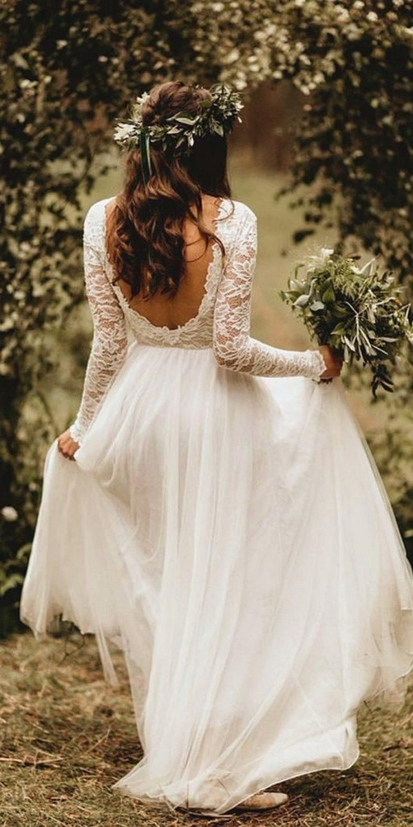 boho wedding dress with long lace sleeves