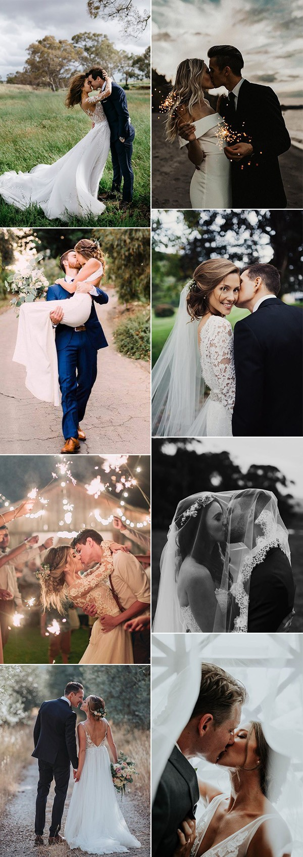 bride and groom kisses wedding photo ideas