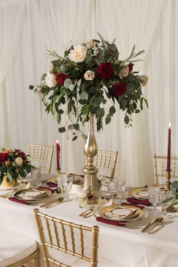 burgundy and gold tall wedding centerpiece