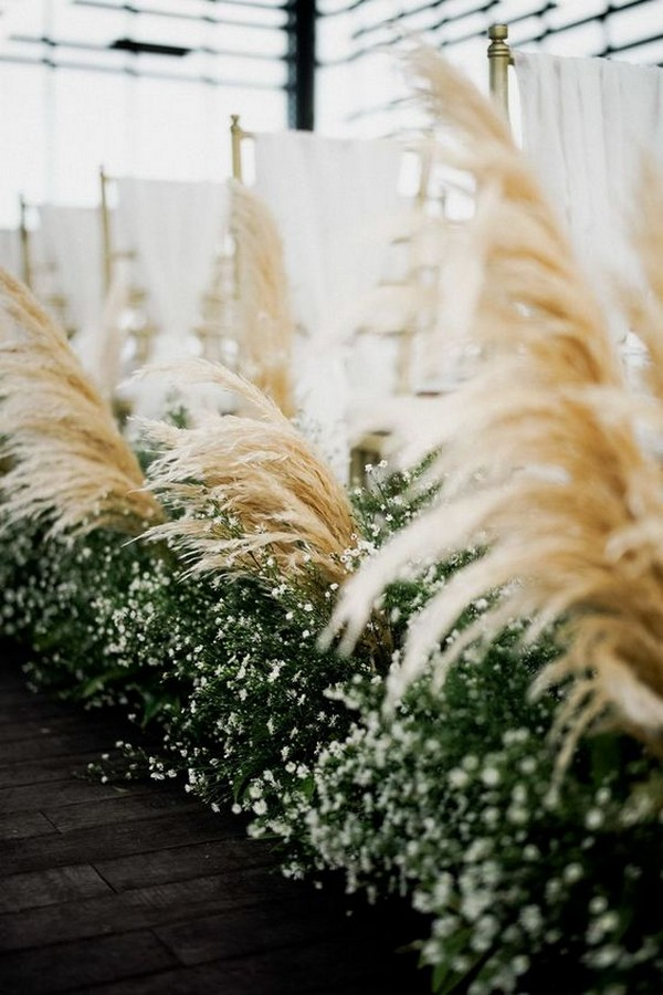 chic pampas grass wedding aisle