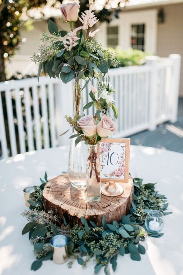 chic rustic tall wedding centerpiece