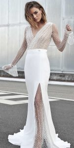 dotted long sleeves wedding dress