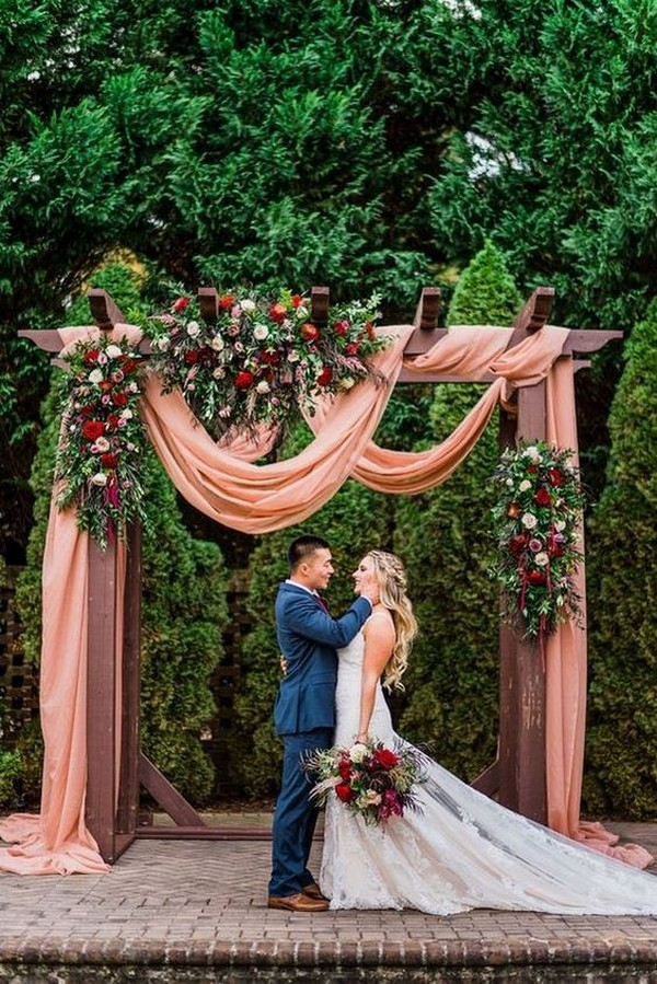 dusty rose fall wedding arch ideas