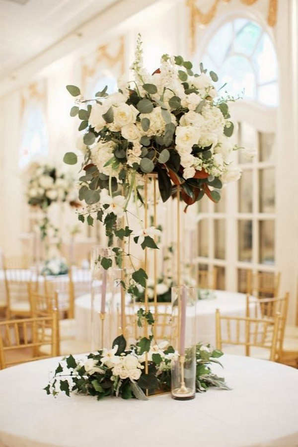 elegant hydrangea and eucalyptus tall wedding centerpiece