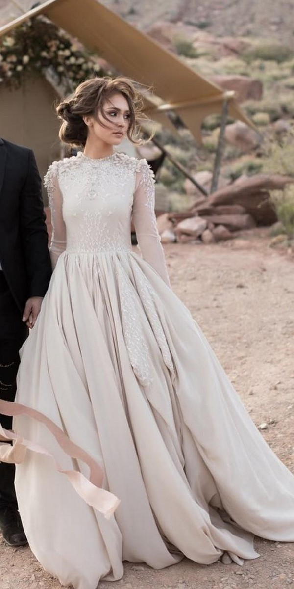 elegant wedding dress with long sleeves