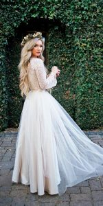 fall wedding dress with long lace sleeves