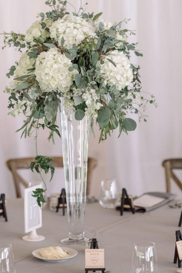 green and white tall wedding centerpiece