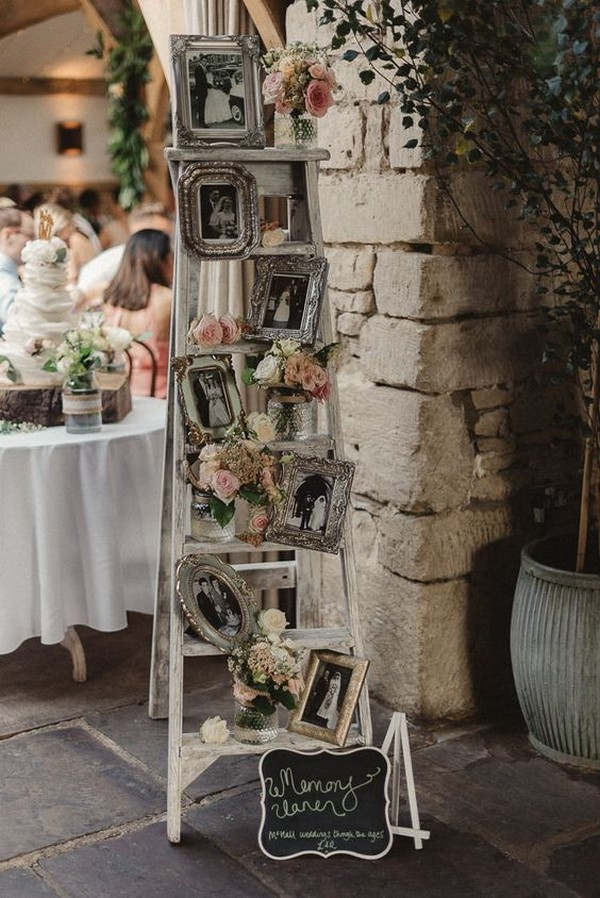 memory photo display vintage wedding ideas with ladders