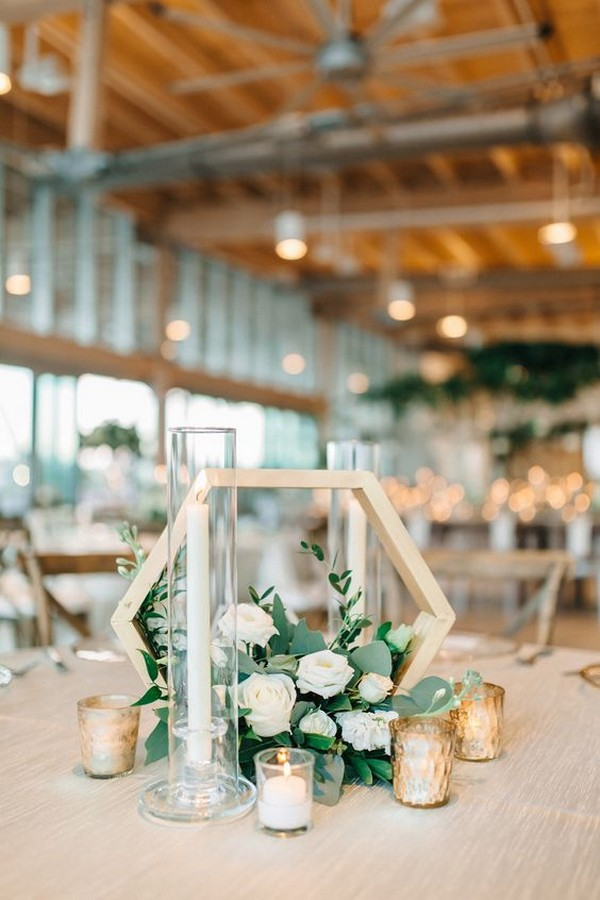 modern geometric tall wedding centerpiece ideas