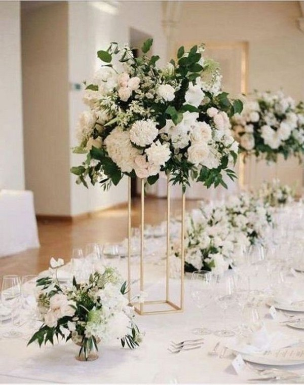 modern greenery and white tall wedding centerpiece ideas