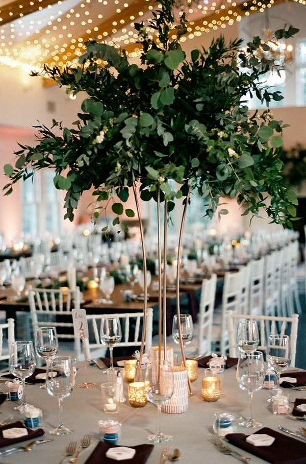 modern greenery tall wedding centerpiece
