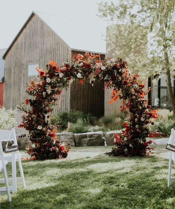 modern outdoor circle fall wedding arch ideas