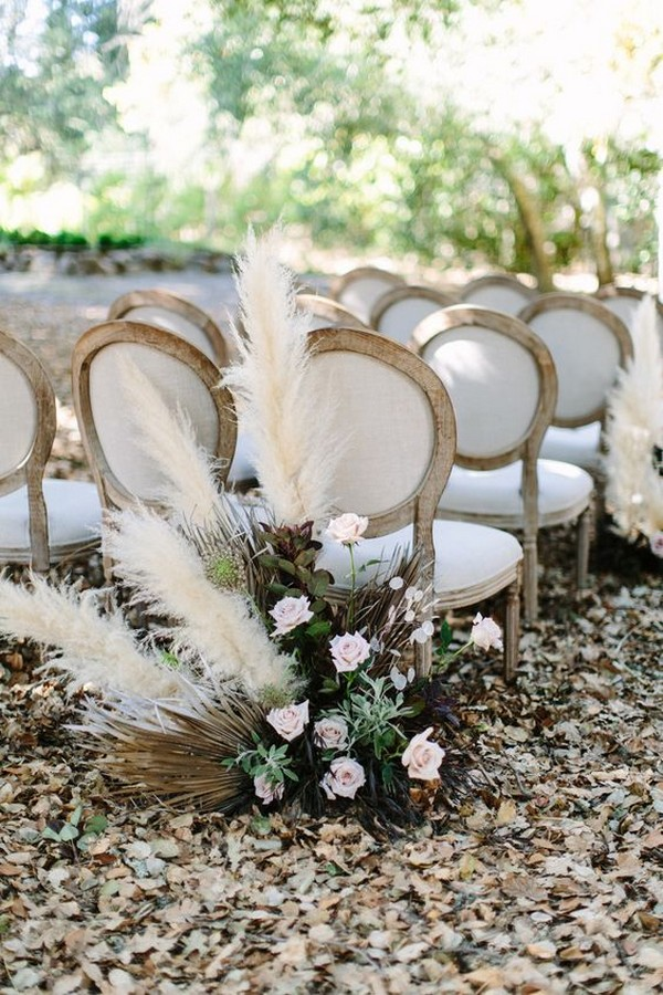 outdoor wedding ceremony ideas with pampas grass