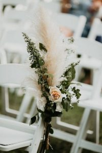 pampas grass and pink roses outdoor wedding aisle ideas