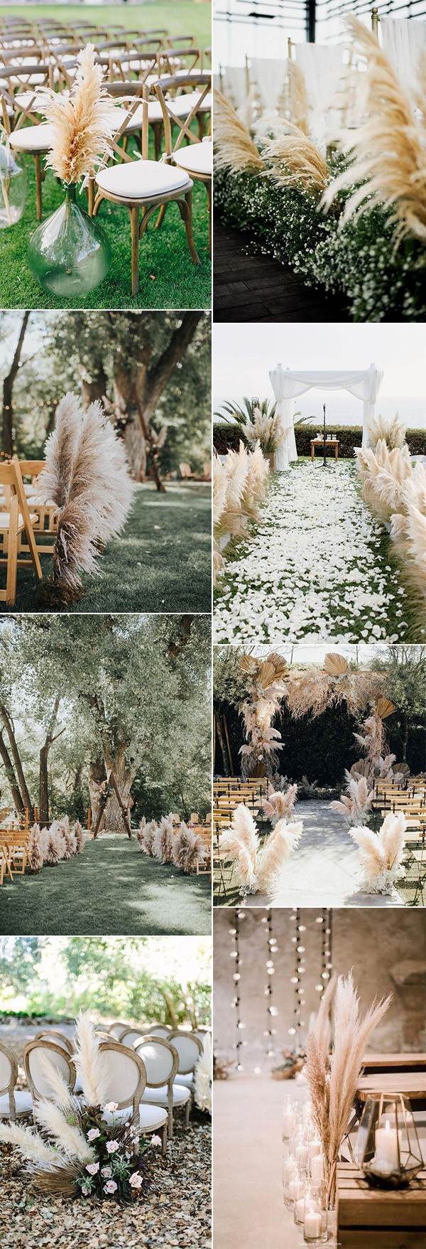 pampas grass wedding aisle decoration ideas