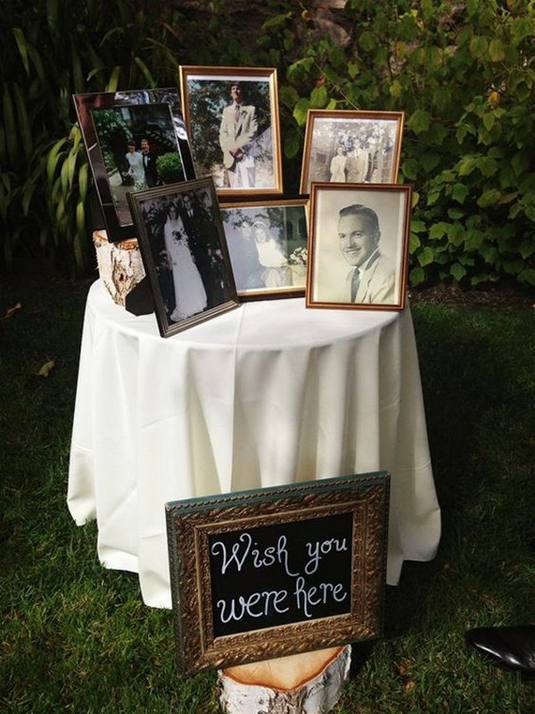 photo display to honor loved ones at wedding