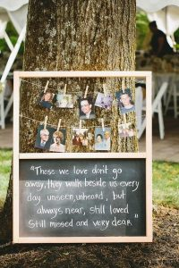photo display to honor loved ones wedding ideas