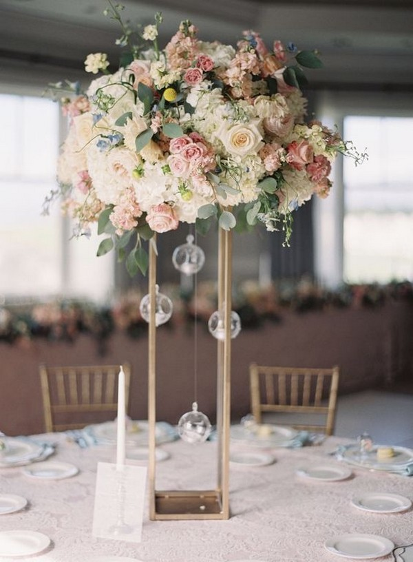 pink and ivory tall wedding centerpiece