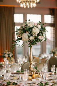 pink blush and gold tall wedding centerpiece ideas