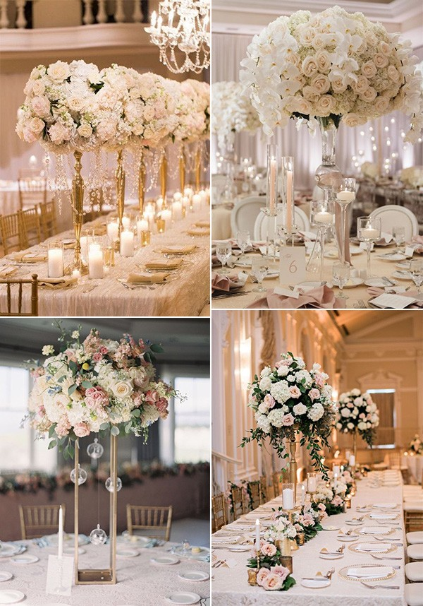 romantic pink and gold tall wedding centerpieces