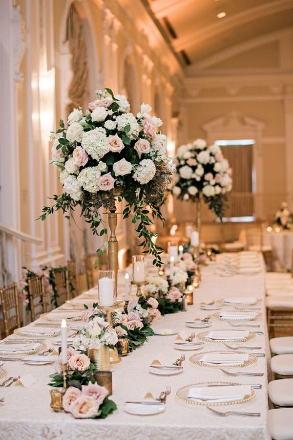 romantic tall wedding centerpiece ideas