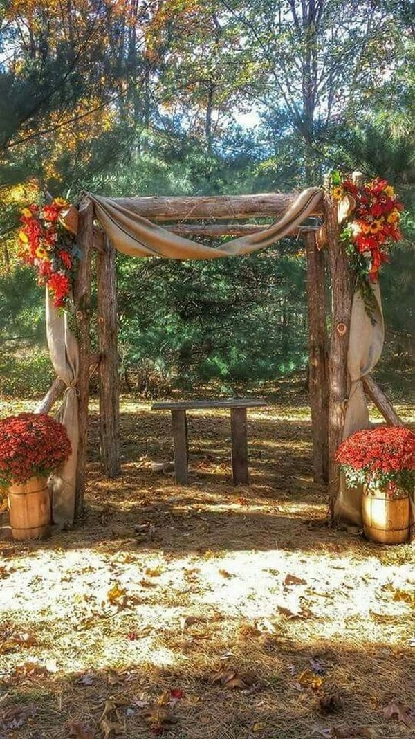 rustic fall wedding arch ideas