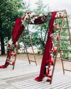 rustic outdoor burgundy wedding arch ideas