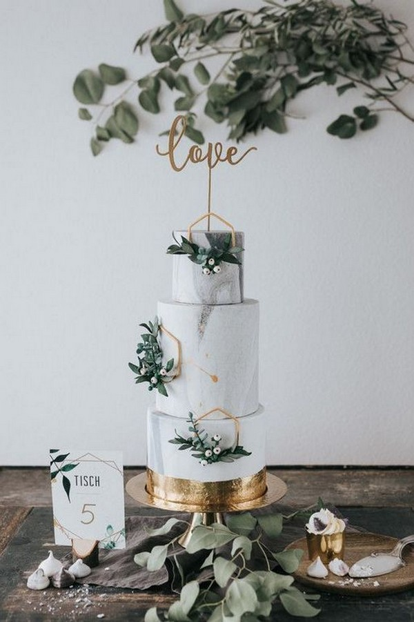 sage and metallic gold wedding cake