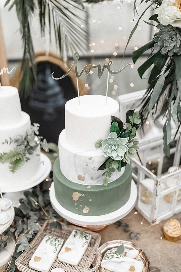 sage green and white wedding cake