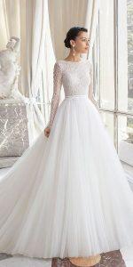 simple elegant wedding dress with long sleeves