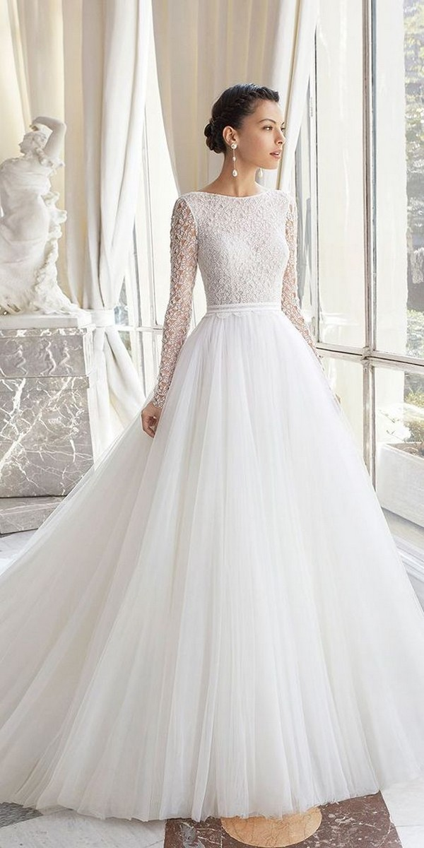simple elegant wedding dress with long sleeves