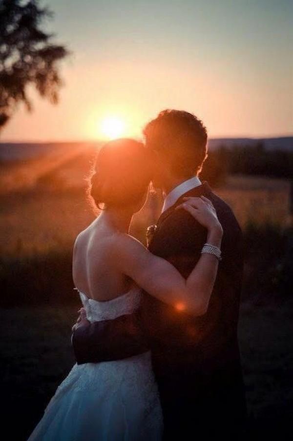 sweet bride and groom wedding photo