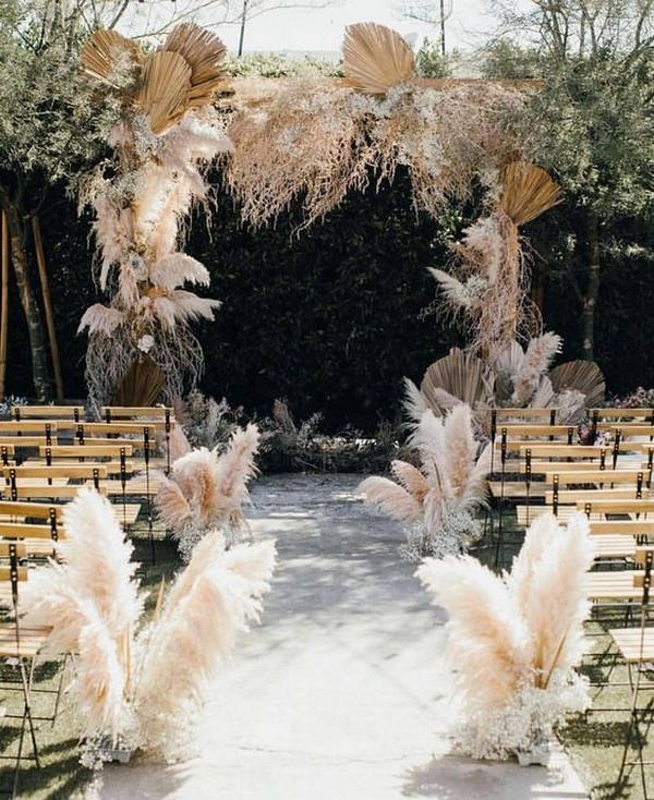trending pampas grass wedding ceremony decoration ideas