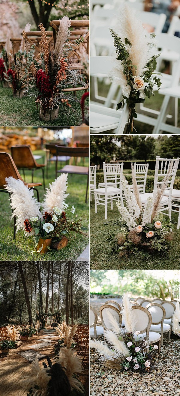 trending wedding aisle decoration ideas with pampas grass