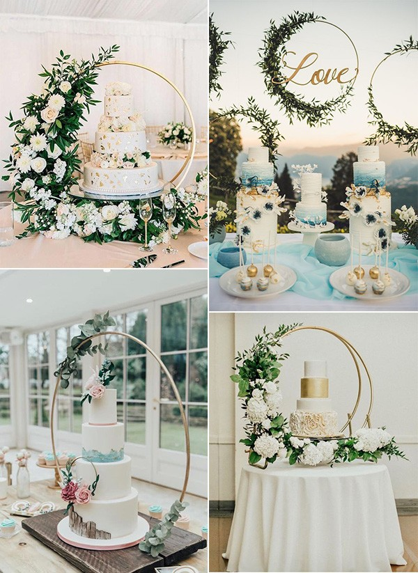 trending wedding cake ideas with hoop stands