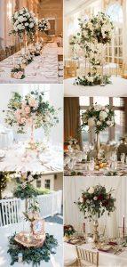 vintage floral tall wedding centerpiece ideas