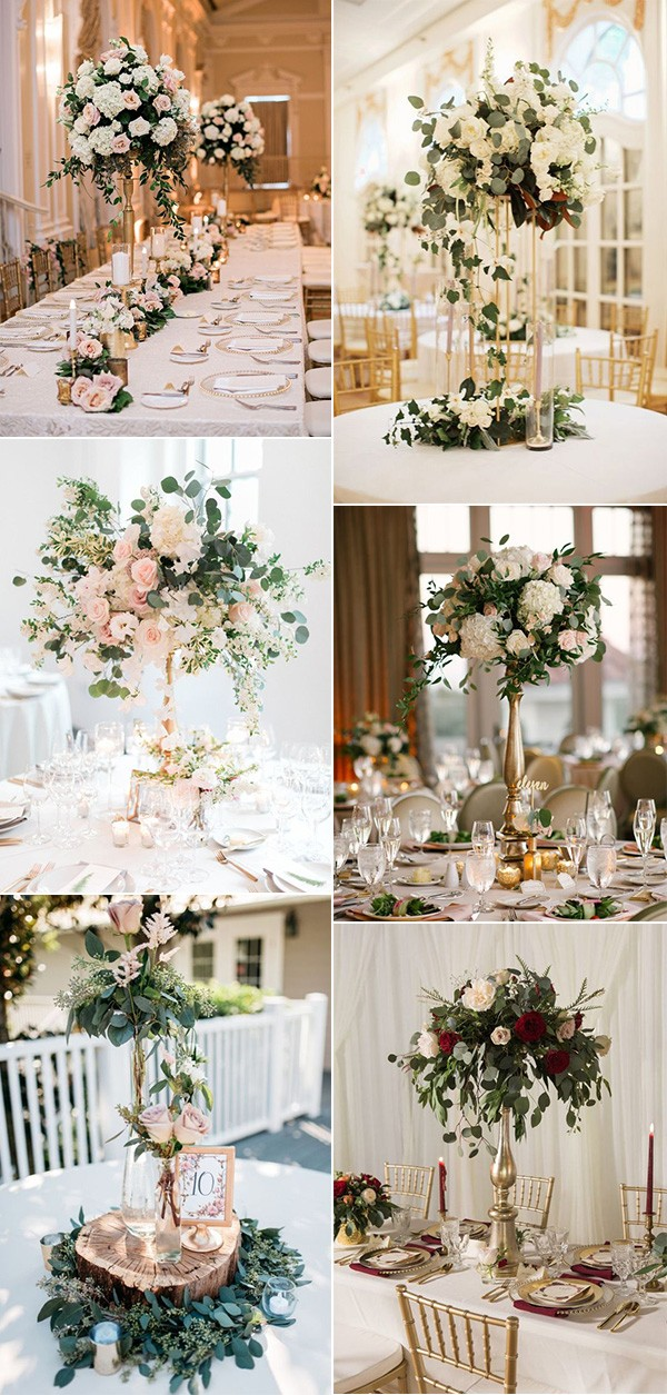 vintage floral tall wedding centerpiece ideas