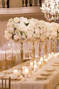 vintage pink and gold tall wedding centerpiece