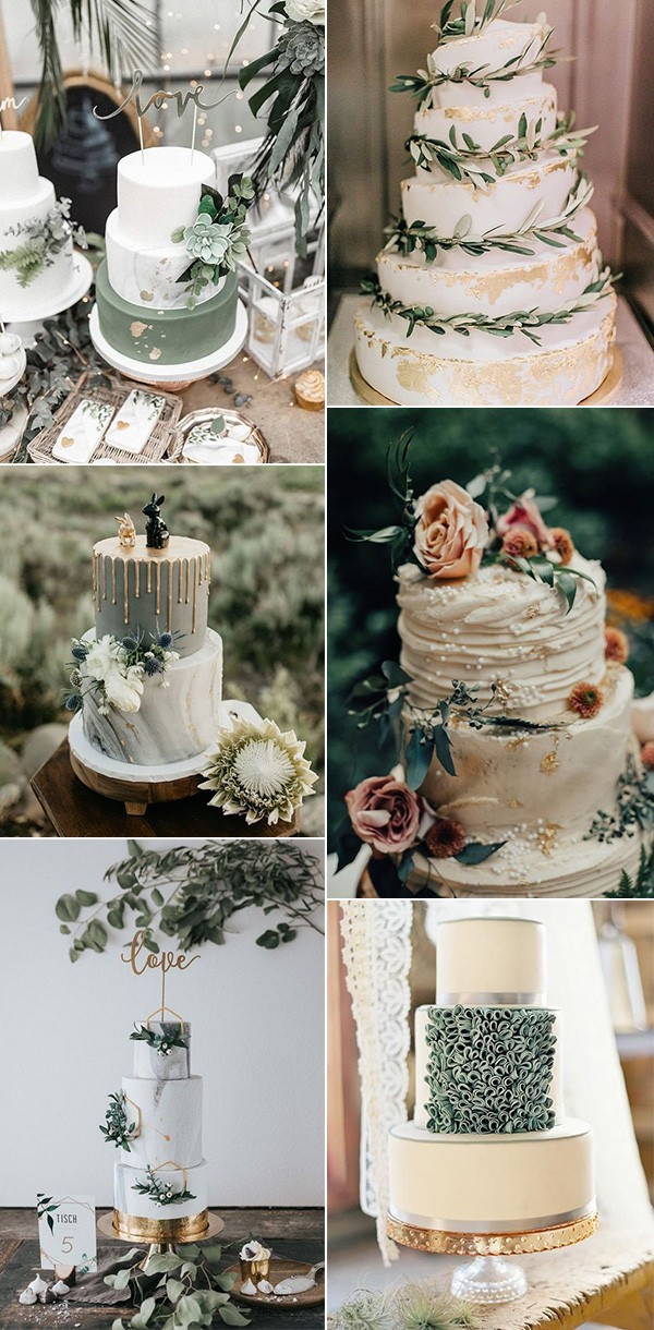 vintage sage green wedding cakes