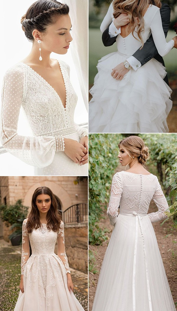 vintage wedding dresses with long sleeves for fall and winter